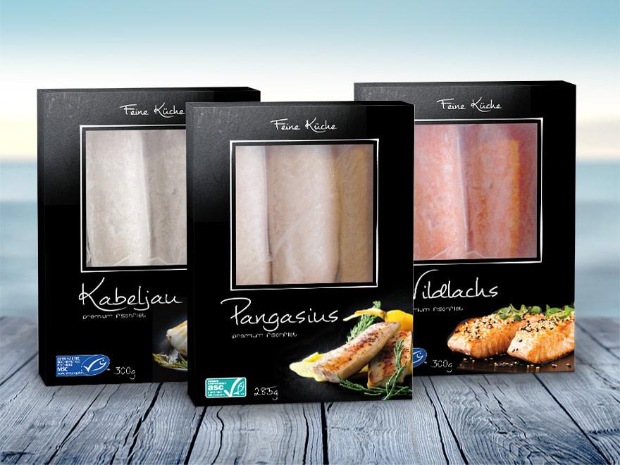 Verpackungsgestaltung Verpackungsdesign Lebensmittel Fisch Tiefkühlprodukte