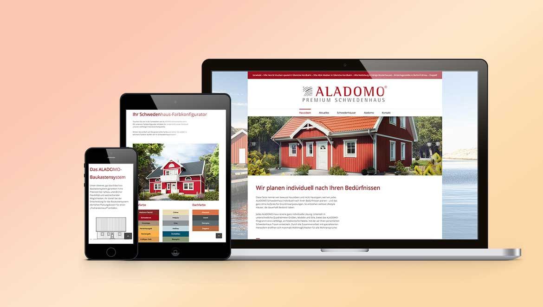 Screenansicht Full responsive Webdesign mit Produktkonfigurator für Aladomo Schwedenhaeuser in Ritterhude.