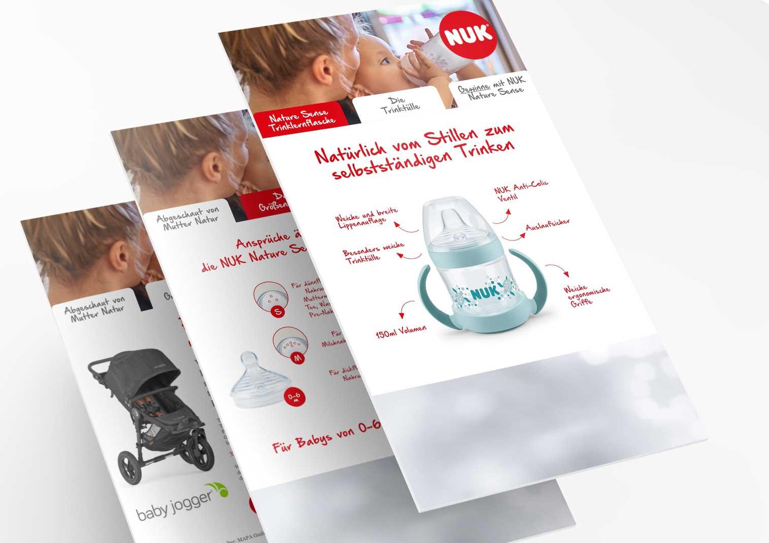 Screenshots der Digital Signage von NUK_Mapa- Platzierung dm Drogeriemärkte_Design und Programmierung Brunnée Werbeagentur und Marketing Bremen