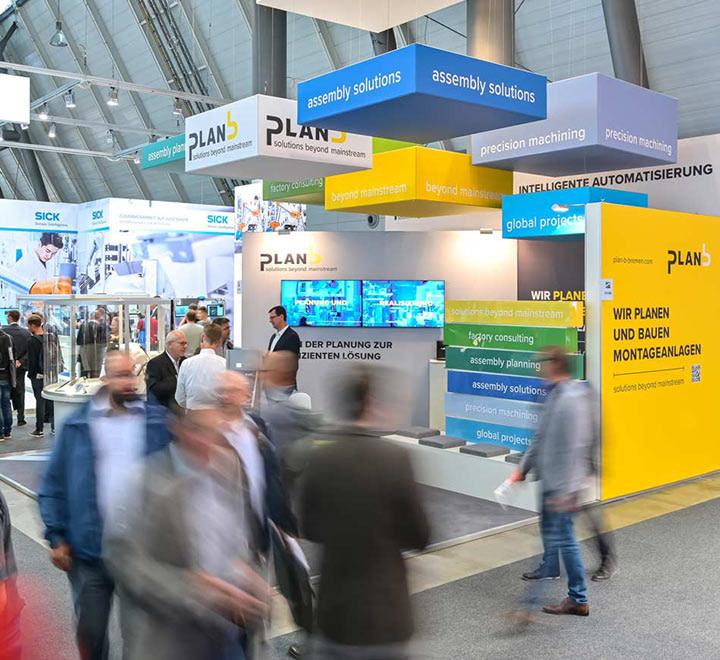 Messebau von Brunnee Marketing fuer plan b Hightech Engineering Bremen.