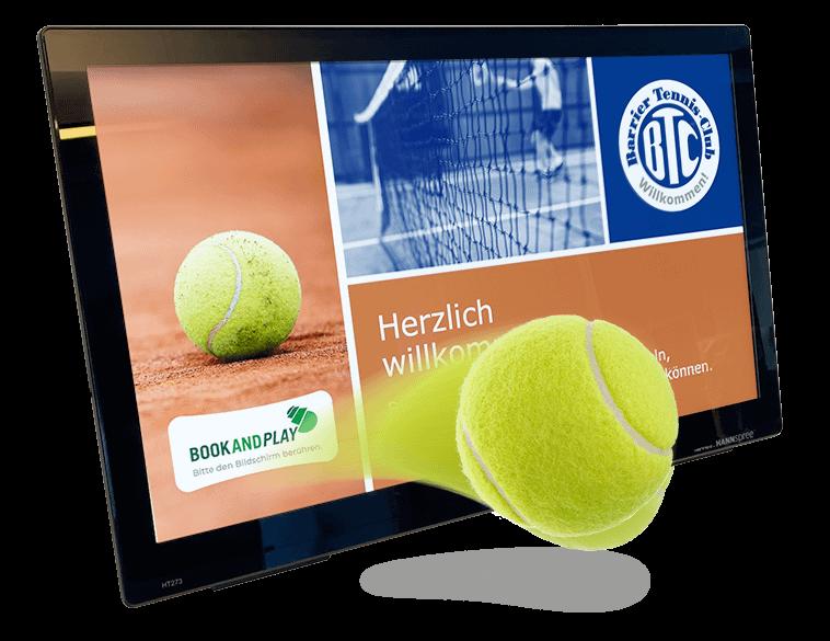 Monitor mit Willkommensscreen des Barrier Tennisclubs