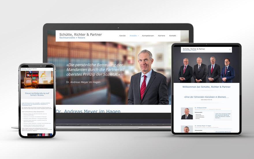 Full responsive Website Schuette Richter und Partner gestaltet von Brunnée Marketing und programmiert durch Brunnee Werbeagentur
