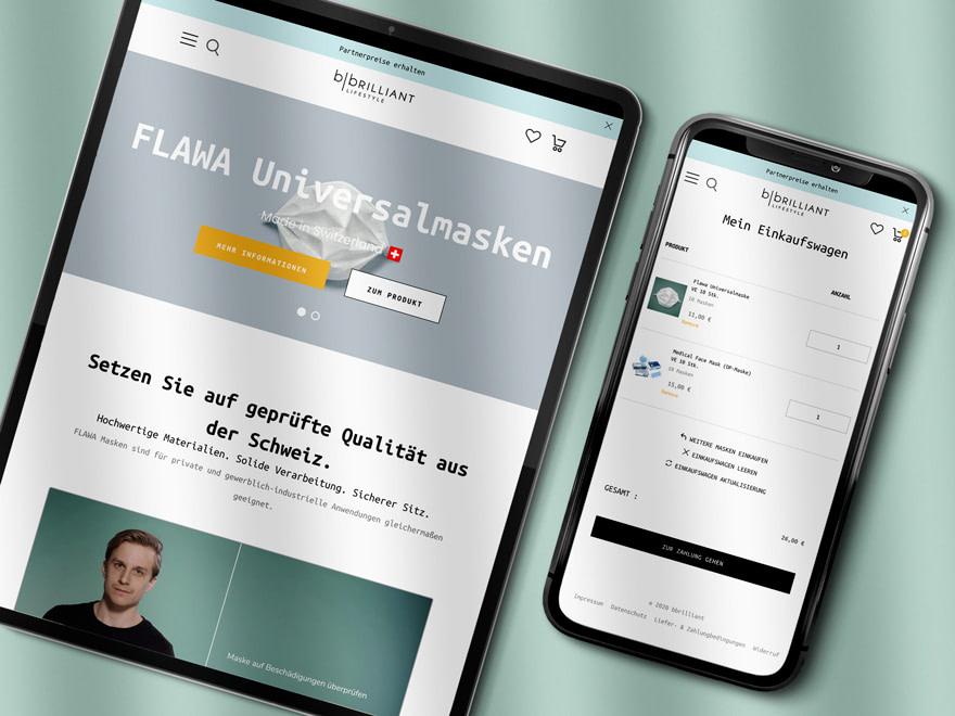 Screenshot Webshop Flawa - Shop Mund- und Nasenschutz - Brunnee Marketing_b.brilliant