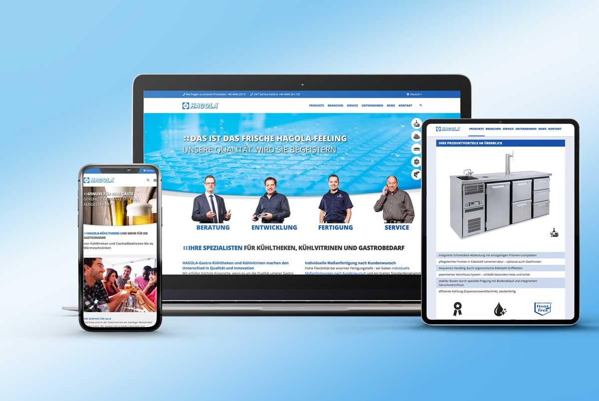 Full responsive Webdesign fuer HAGOLA am Beispiel Laptopp, Handy und Tabletansicht. Design und Programmierung durch Brunnee Marketing- und Werbeagentur Bremen.