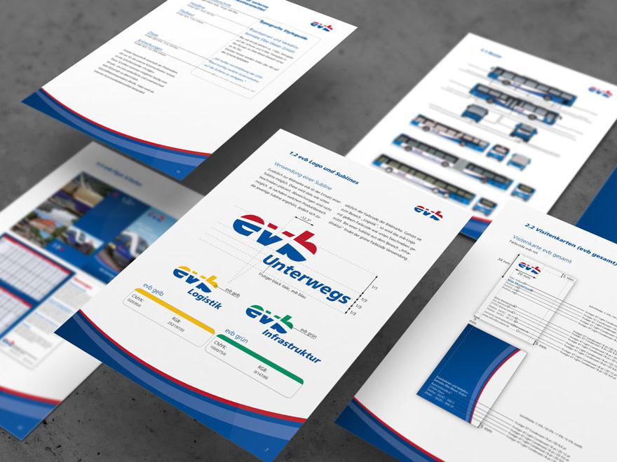 Blick auf die Corporate Guideline der eisenbahnen- und verkehrsbetriebe elbe weser - Design durch die Brunnee Werbeagentur